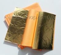 Поталь золотая китайская в книге 14см*14см, 25 листов, цвет 2,5