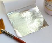 Супер-поталь. Зеркальная полиментная серебряная поталь краска